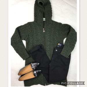 Aran crafts ireland long hood sweater, medium